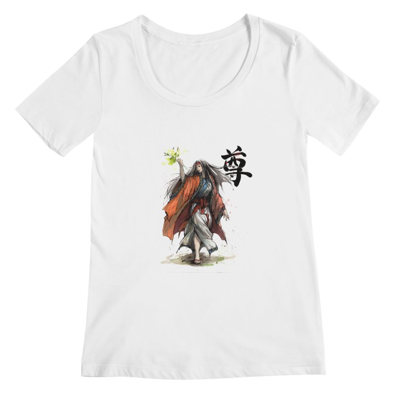 Himiko with Japanese Calligraphy Noble Sacred Women's Scoopneck by mycks's Artist Shop