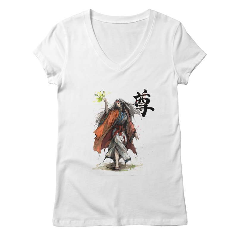 Himiko with Japanese Calligraphy Noble Sacred Women's V-Neck by mycks's Artist Shop