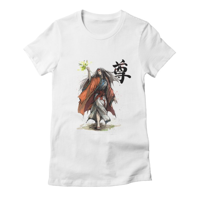 Himiko with Japanese Calligraphy Noble Sacred Women's Fitted T-Shirt by mycks's Artist Shop