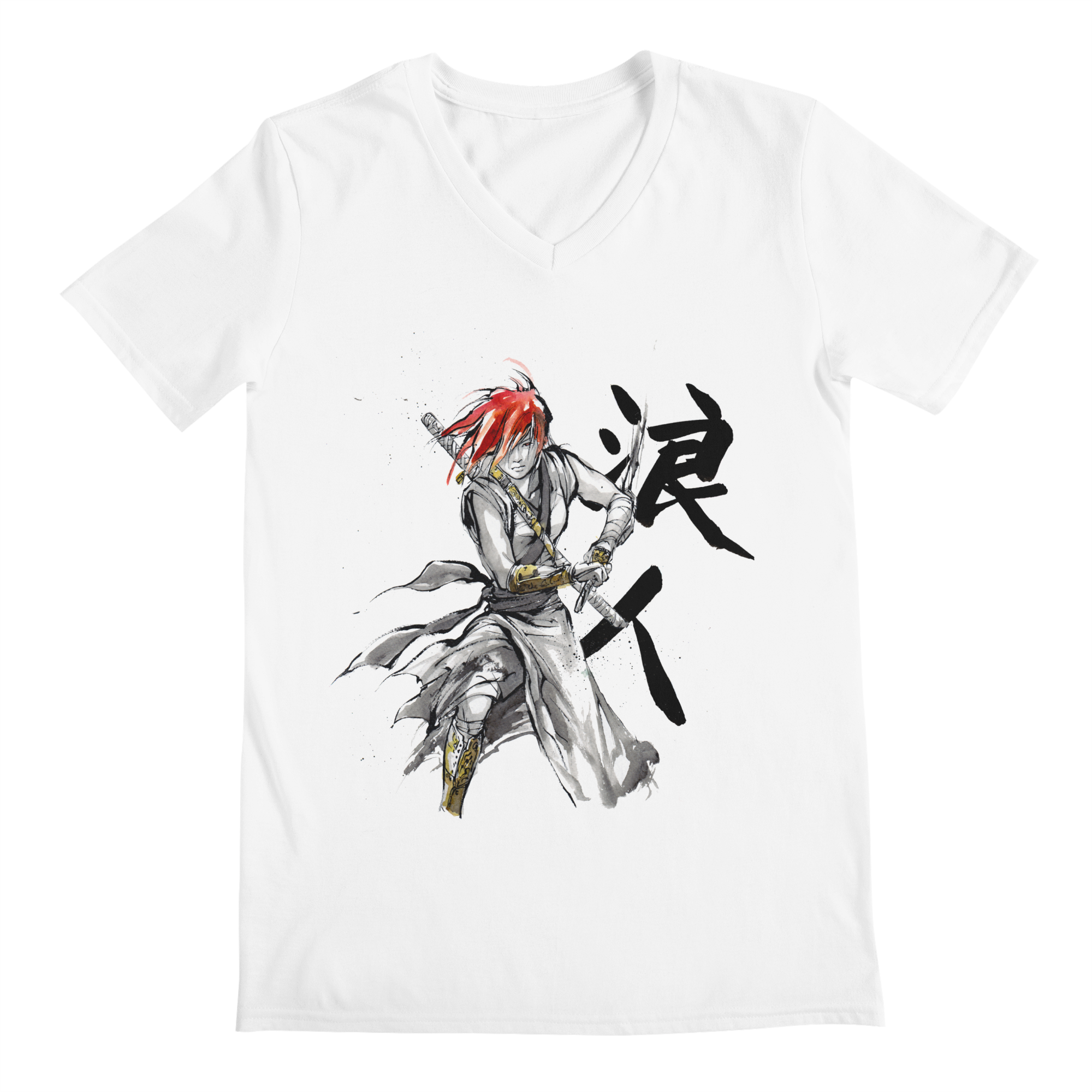 feafd948d005 mycks female-ronin-samurai-with-japanese-calligraphy mens v-neck