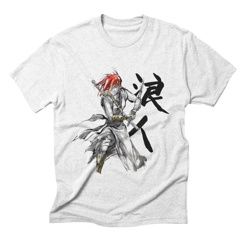 Female Ronin Samurai with Japanese Calligraphy Men's Triblend T-shirt by mycks's Artist Shop