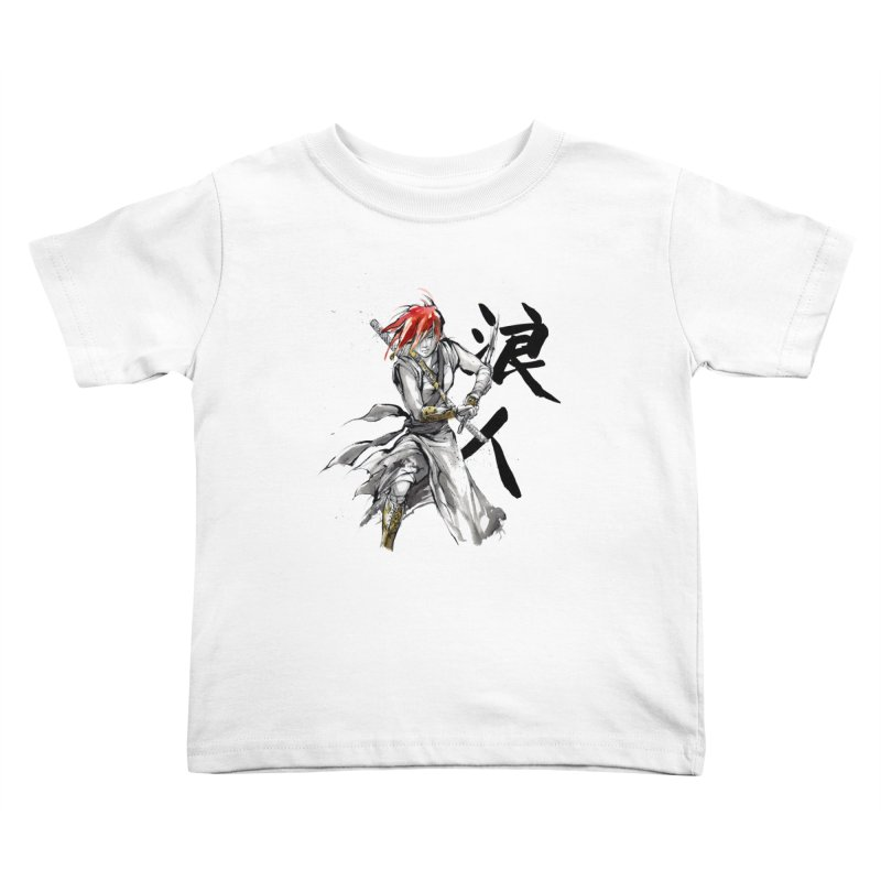Female Ronin Samurai with Japanese Calligraphy Kids Toddler T-Shirt by mycks's Artist Shop