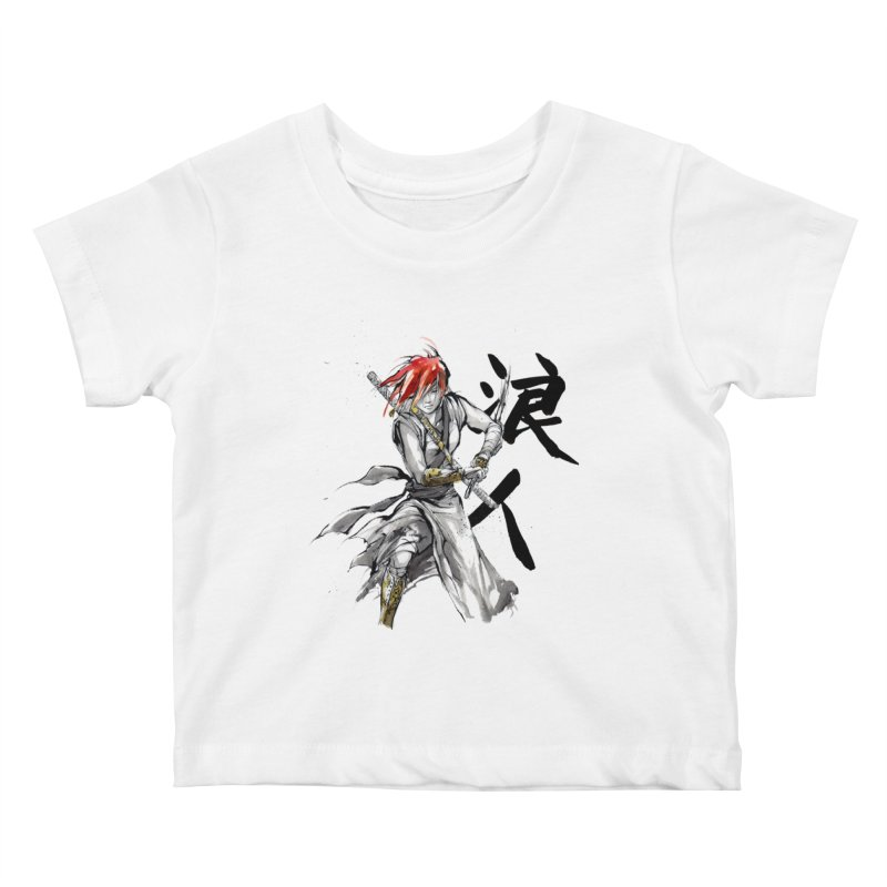 Female Ronin Samurai with Japanese Calligraphy Kids Baby T-Shirt by mycks's Artist Shop