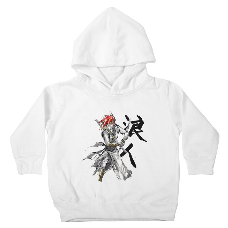 Female Ronin Samurai with Japanese Calligraphy Kids Toddler Pullover Hoody by mycks's Artist Shop