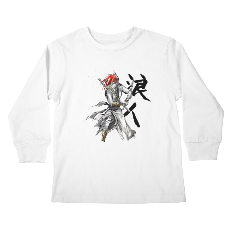 Female Ronin Samurai with Japanese Calligraphy Kids Longsleeve T-Shirt by mycks's Artist Shop