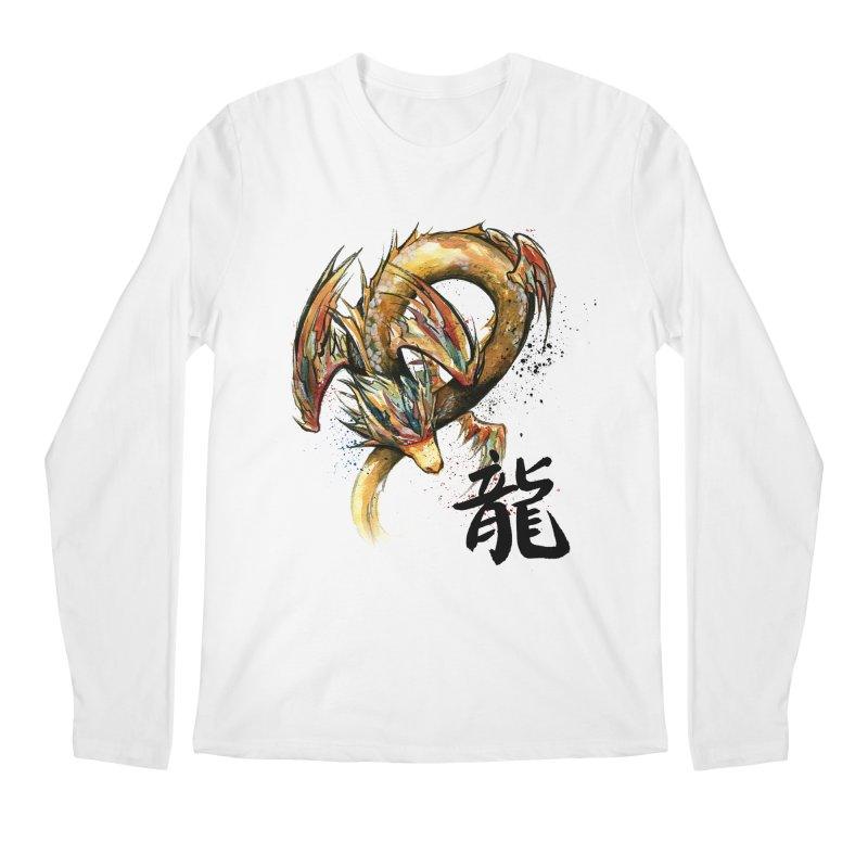 Golden Dragon with Japanese Calligraphy Men's Longsleeve T-Shirt by mycks's Artist Shop