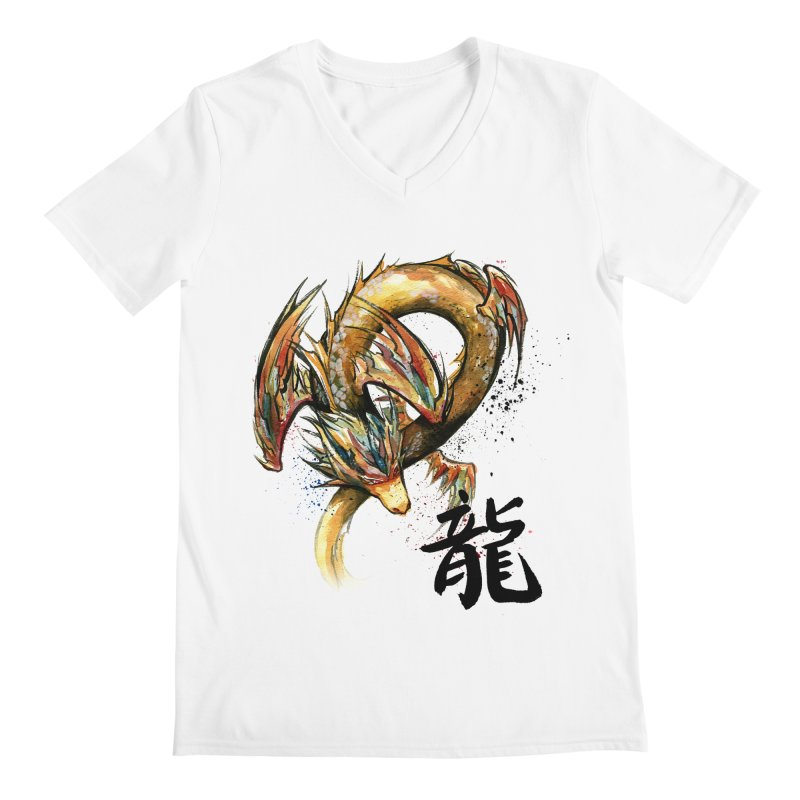 Golden Dragon with Japanese Calligraphy Men's V-Neck by mycks's Artist Shop