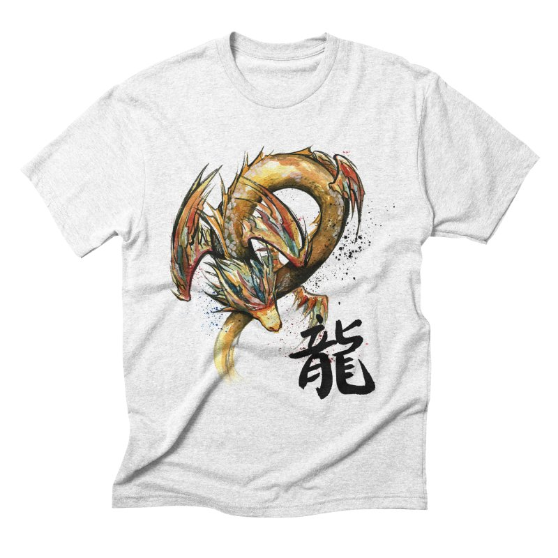Golden Dragon with Japanese Calligraphy Men's Triblend T-shirt by mycks's Artist Shop