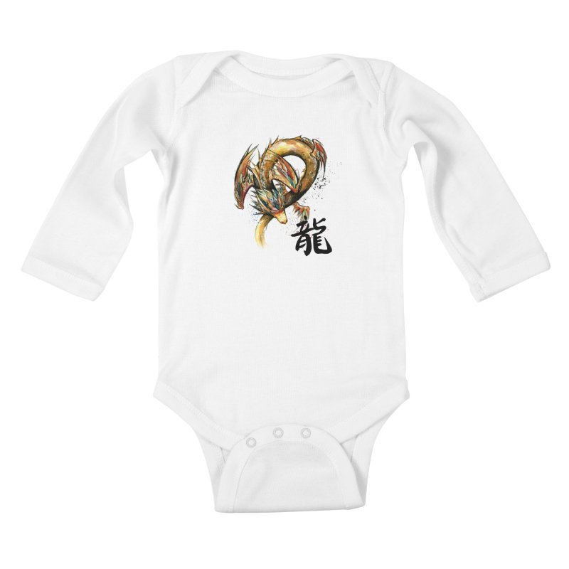 Golden Dragon with Japanese Calligraphy Kids Baby Longsleeve Bodysuit by mycks's Artist Shop