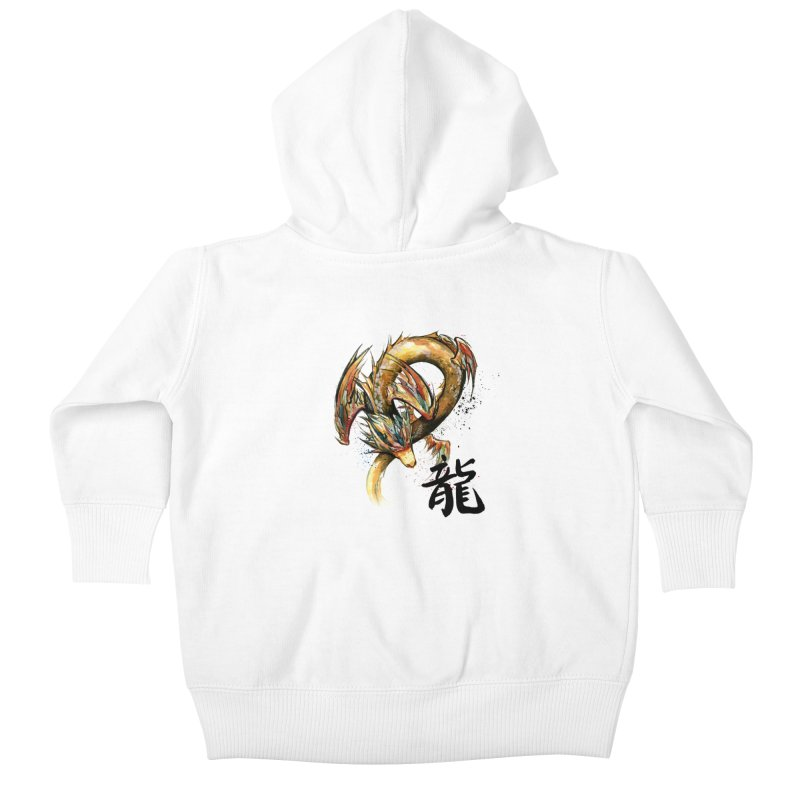 Golden Dragon with Japanese Calligraphy Kids Baby Zip-Up Hoody by mycks's Artist Shop