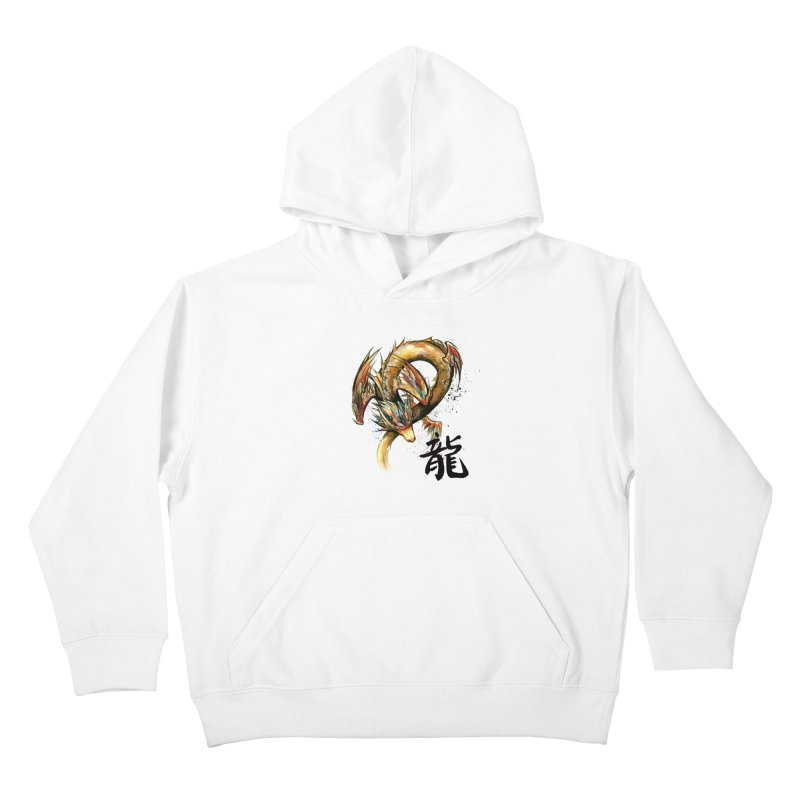 Golden Dragon with Japanese Calligraphy Kids Pullover Hoody by mycks's Artist Shop