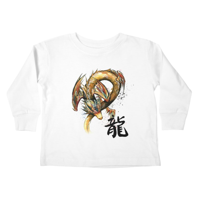 Golden Dragon with Japanese Calligraphy Kids Toddler Longsleeve T-Shirt by mycks's Artist Shop