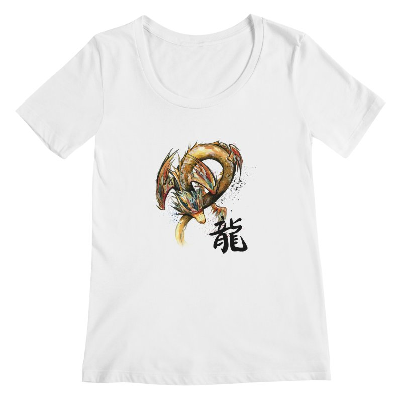 Golden Dragon with Japanese Calligraphy Women's Scoopneck by mycks's Artist Shop