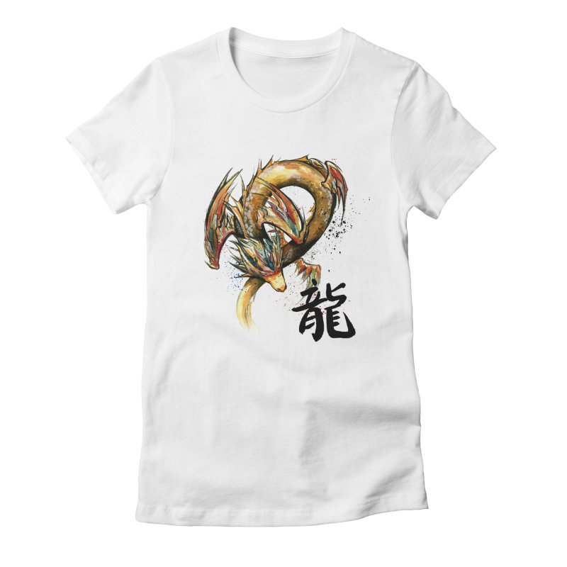 Golden Dragon with Japanese Calligraphy Women's Fitted T-Shirt by mycks's Artist Shop