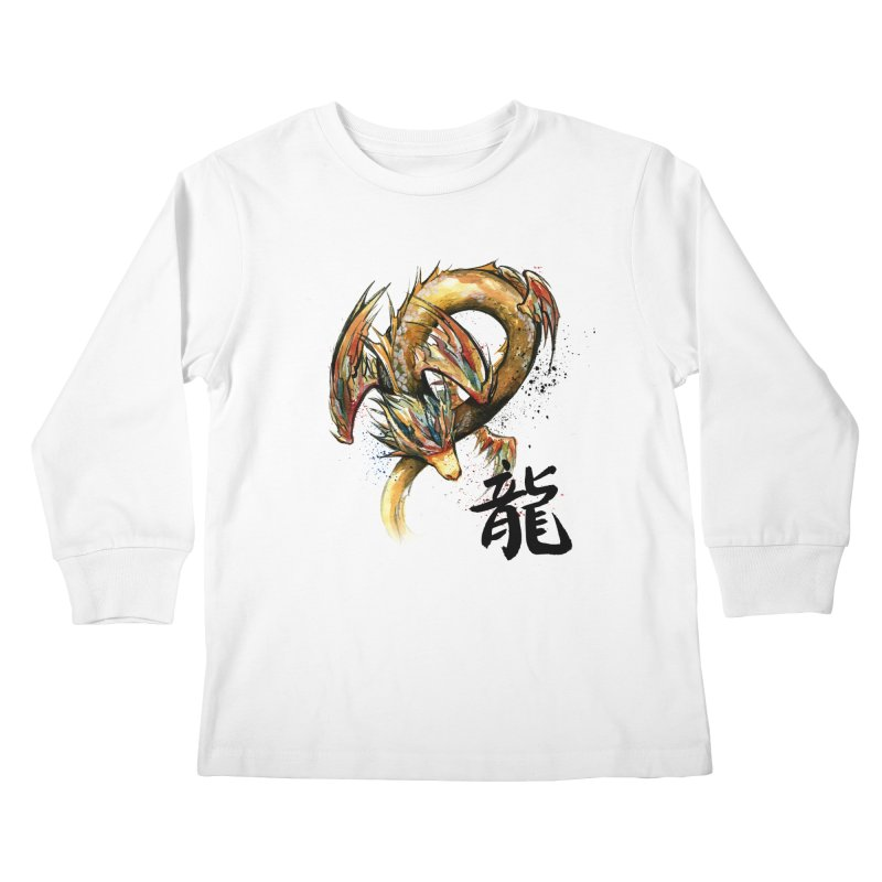 Golden Dragon with Japanese Calligraphy Kids Longsleeve T-Shirt by mycks's Artist Shop