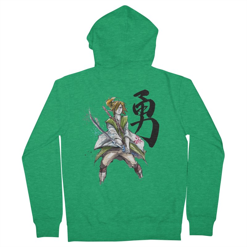 Samurai Link with Japanese Calligraphy Courage Women's Zip-Up Hoody by mycks's Artist Shop