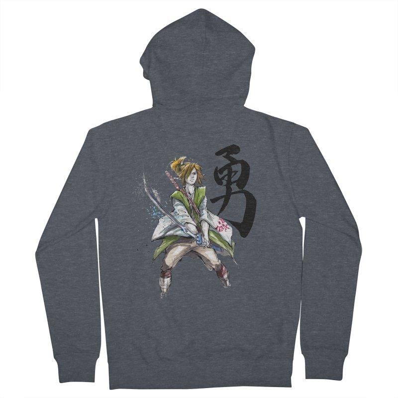 Samurai Link with Japanese Calligraphy Courage Men's Zip-Up Hoody by mycks's Artist Shop