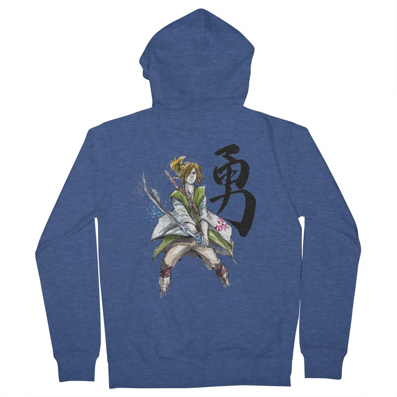 Samurai Link with Japanese Calligraphy Courage Men's Zip-Up Hoody by mycks's Artist Shop