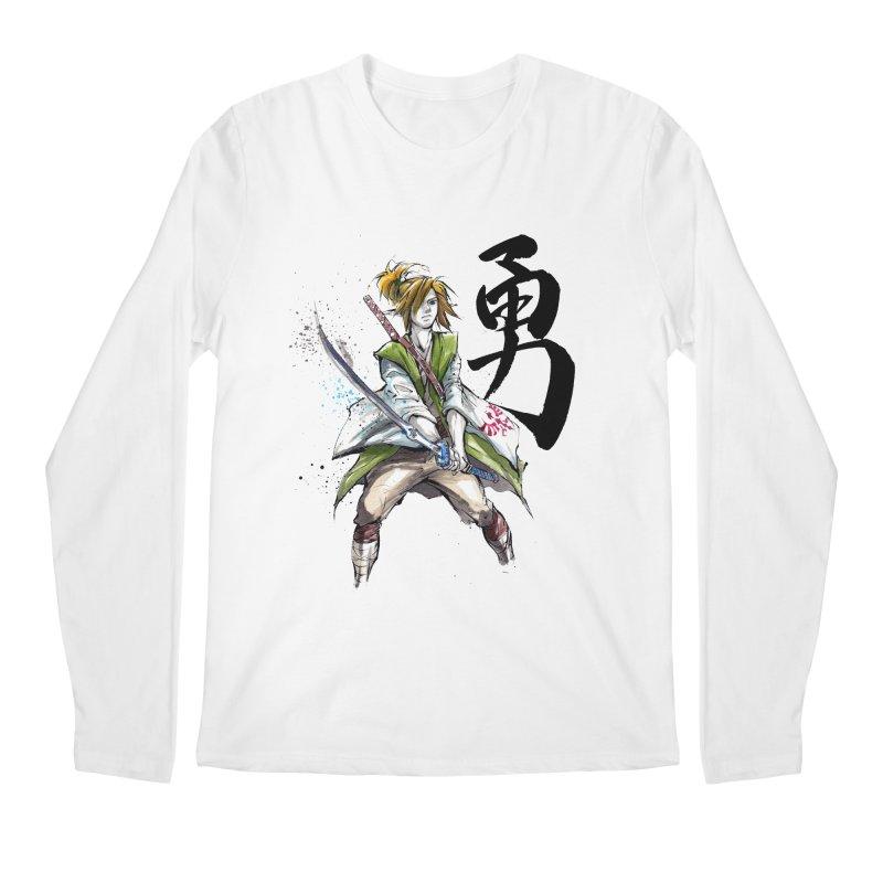 Samurai Link with Japanese Calligraphy Courage Men's Longsleeve T-Shirt by mycks's Artist Shop