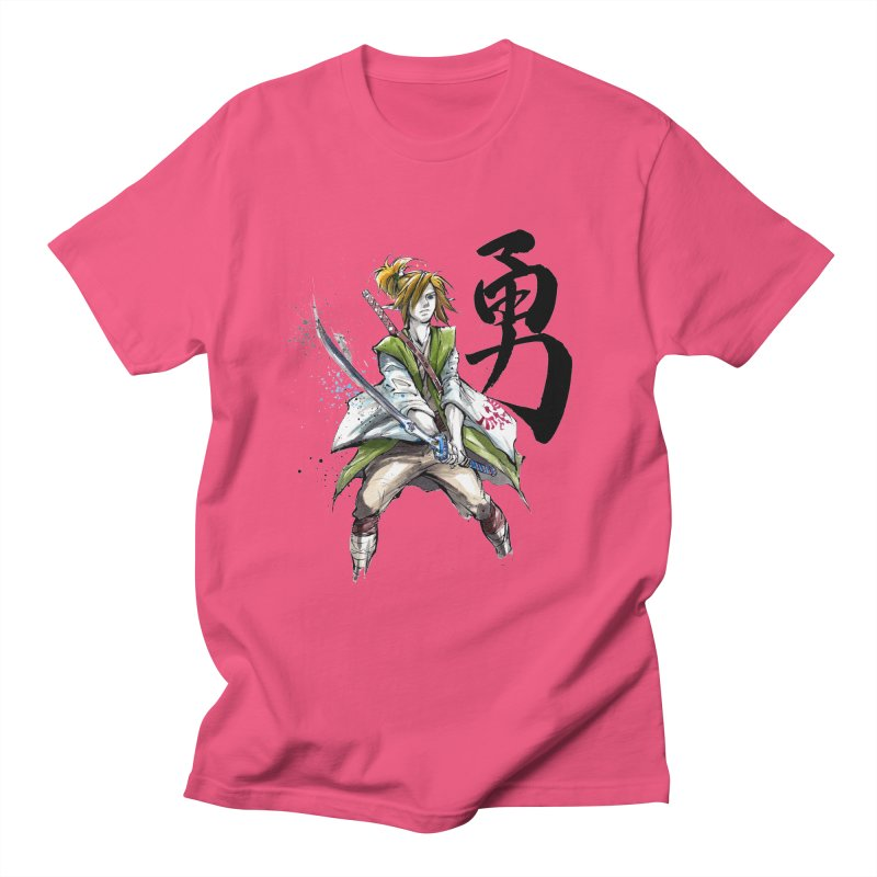 Samurai Link with Japanese Calligraphy Courage Men's T-shirt by mycks's Artist Shop
