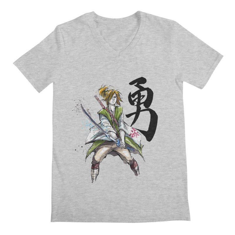Samurai Link with Japanese Calligraphy Courage Men's V-Neck by mycks's Artist Shop