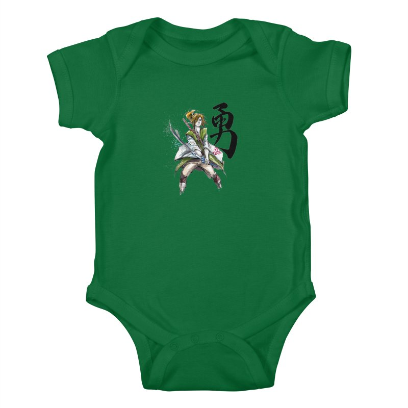 Samurai Link with Japanese Calligraphy Courage Kids Baby Bodysuit by mycks's Artist Shop