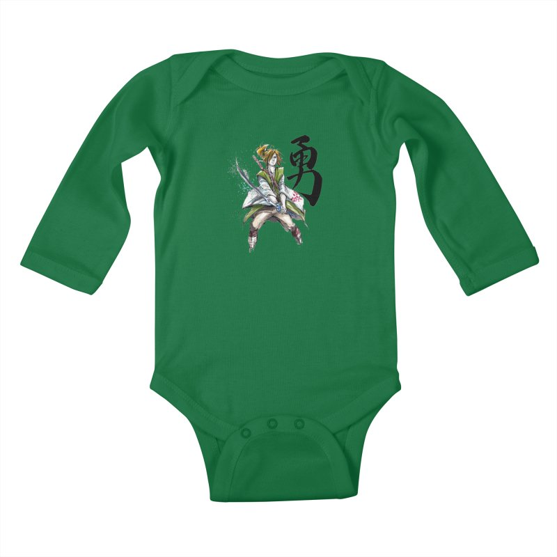 Samurai Link with Japanese Calligraphy Courage Kids Baby Longsleeve Bodysuit by mycks's Artist Shop