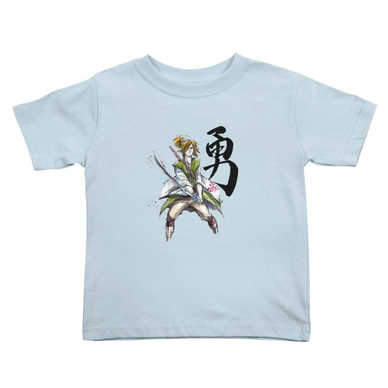 Samurai Link with Japanese Calligraphy Courage Kids Toddler T-Shirt by mycks's Artist Shop