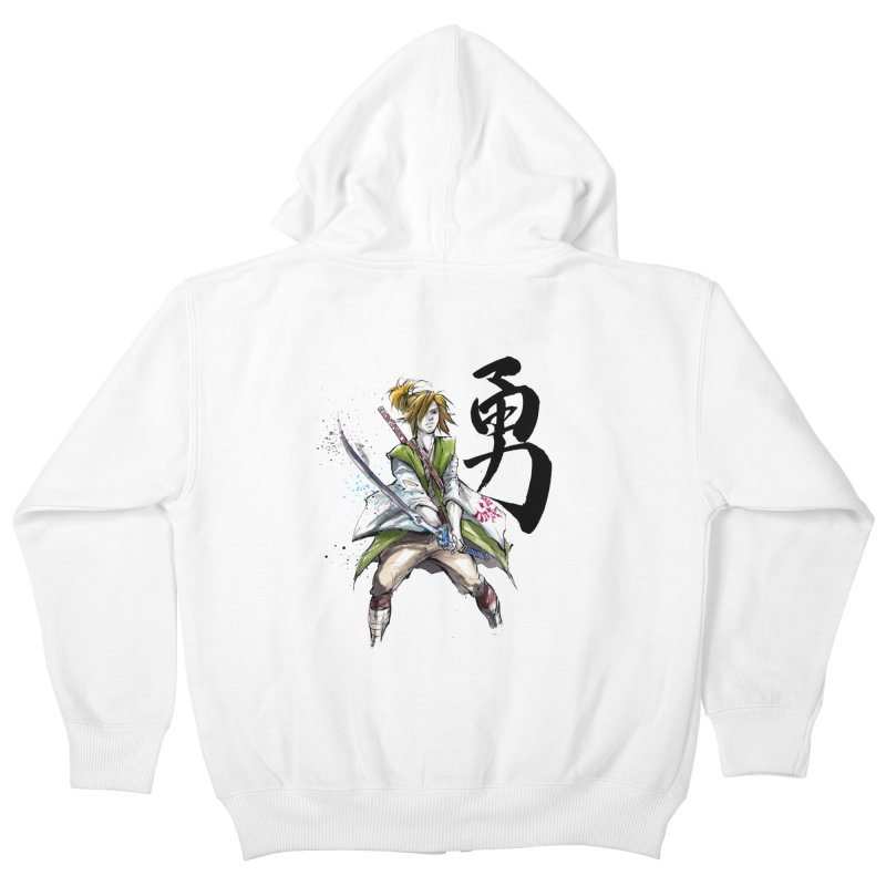 Samurai Link with Japanese Calligraphy Courage Kids Zip-Up Hoody by mycks's Artist Shop