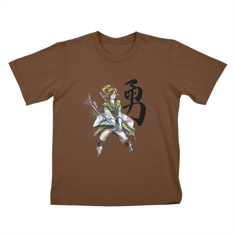 Samurai Link with Japanese Calligraphy Courage Kids T-shirt by mycks's Artist Shop