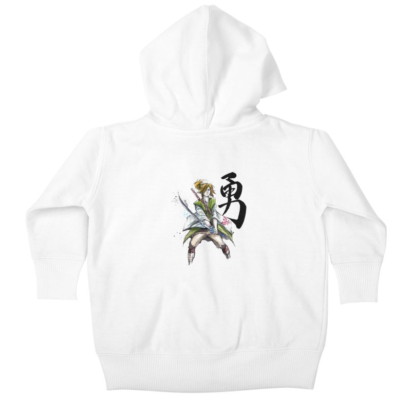 Samurai Link with Japanese Calligraphy Courage Kids Baby Zip-Up Hoody by mycks's Artist Shop