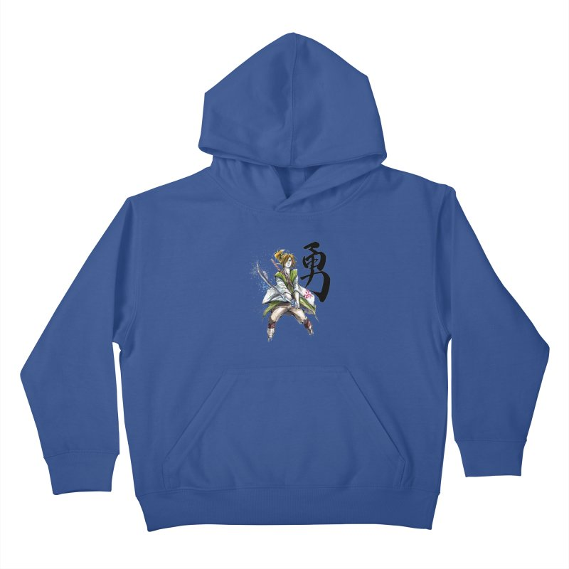 Samurai Link with Japanese Calligraphy Courage Kids Pullover Hoody by mycks's Artist Shop