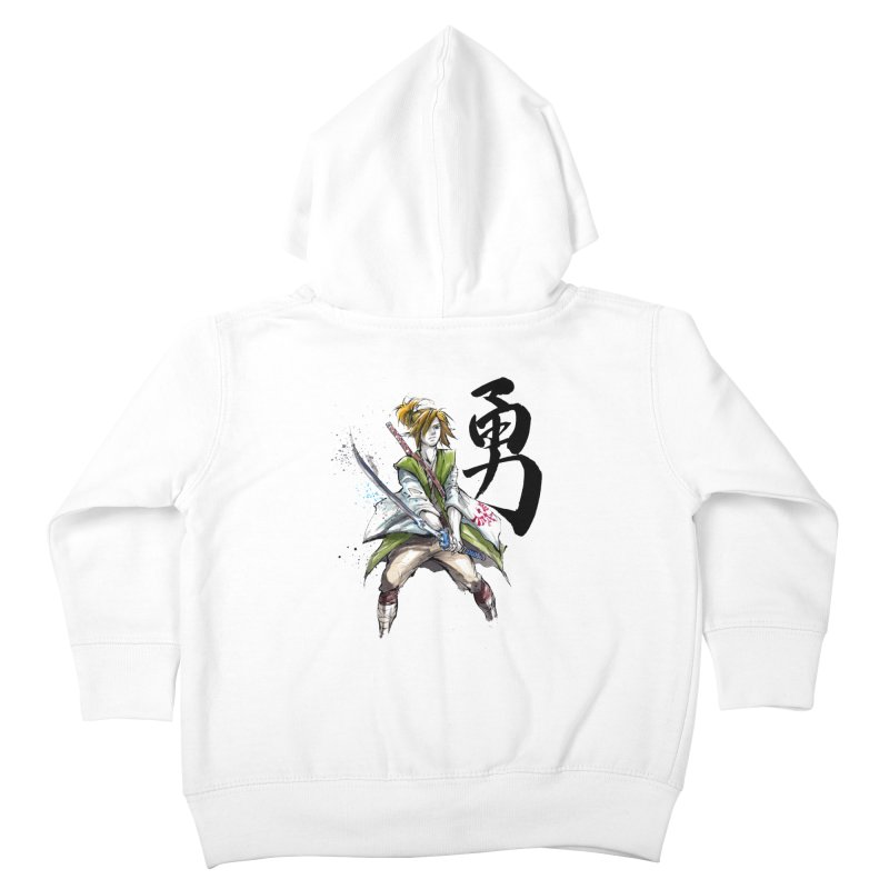 Samurai Link with Japanese Calligraphy Courage Kids Toddler Zip-Up Hoody by mycks's Artist Shop