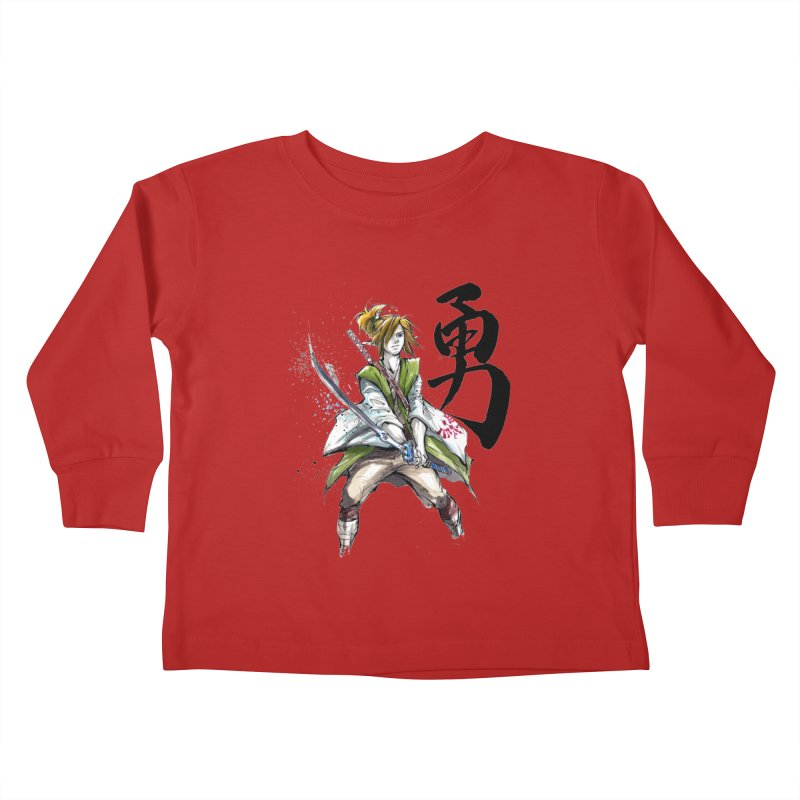 Samurai Link with Japanese Calligraphy Courage Kids Toddler Longsleeve T-Shirt by mycks's Artist Shop