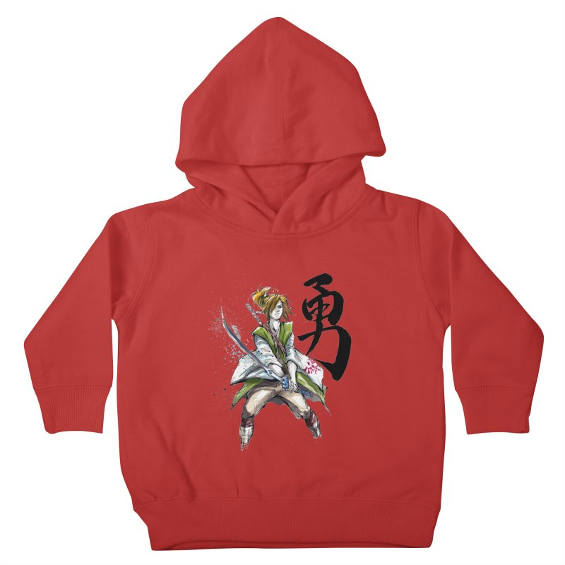 Samurai Link with Japanese Calligraphy Courage Kids Toddler Pullover Hoody by mycks's Artist Shop