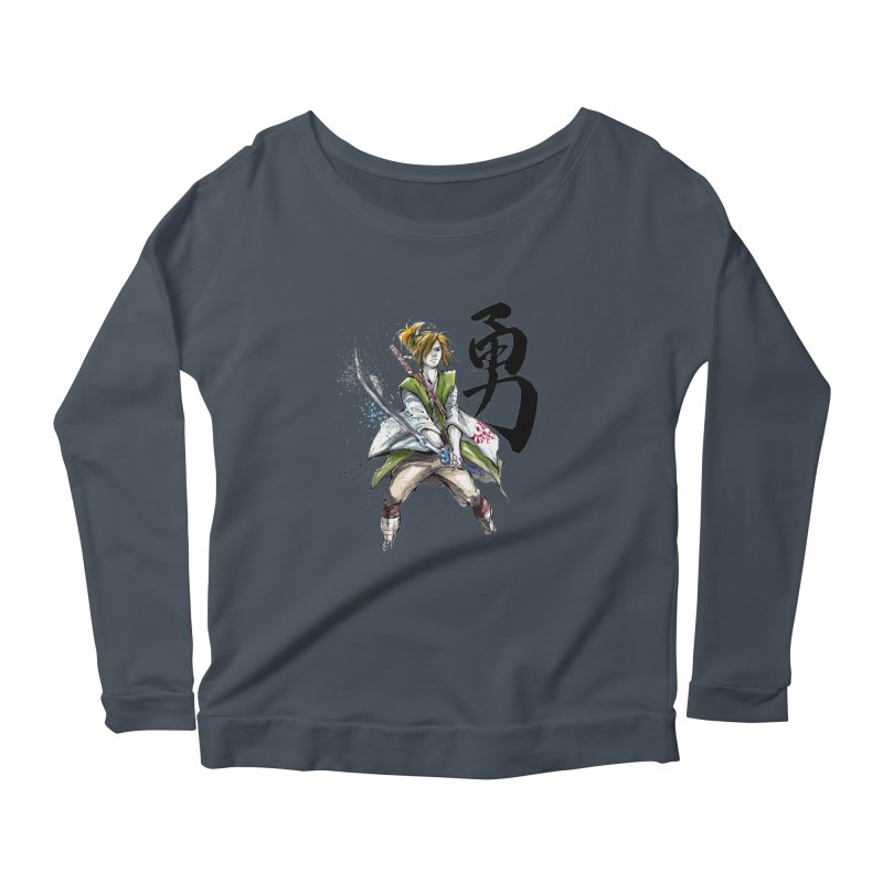 Samurai Link with Japanese Calligraphy Courage Women's Longsleeve Scoopneck  by mycks's Artist Shop
