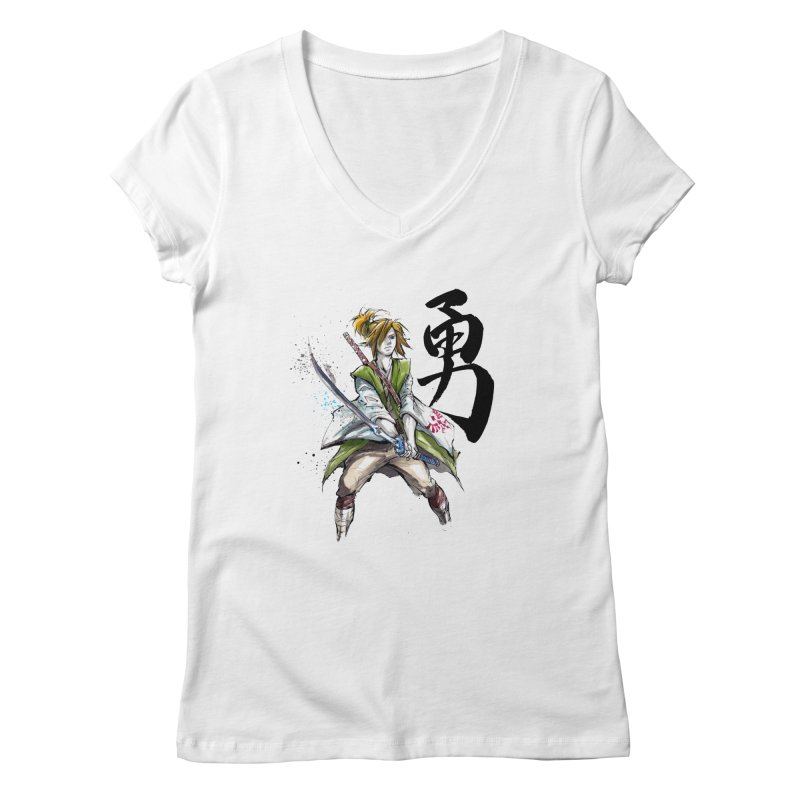 Samurai Link with Japanese Calligraphy Courage Women's V-Neck by mycks's Artist Shop