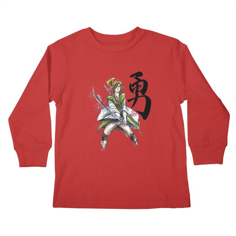 Samurai Link with Japanese Calligraphy Courage Kids Longsleeve T-Shirt by mycks's Artist Shop