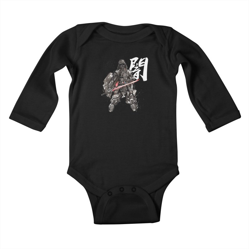 Samurai Vader with Calligraphy Darkness Kids Baby Longsleeve Bodysuit by mycks's Artist Shop