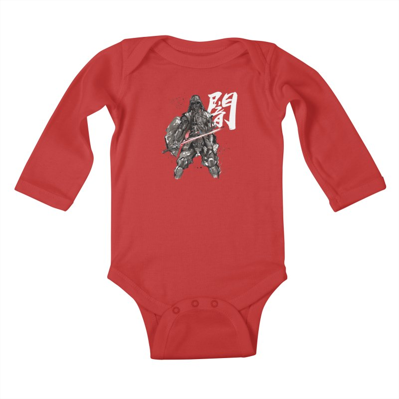 Samurai Vader with Calligraphy Darkness Kids Baby Longsleeve Bodysuit by mycks's Artist Shop
