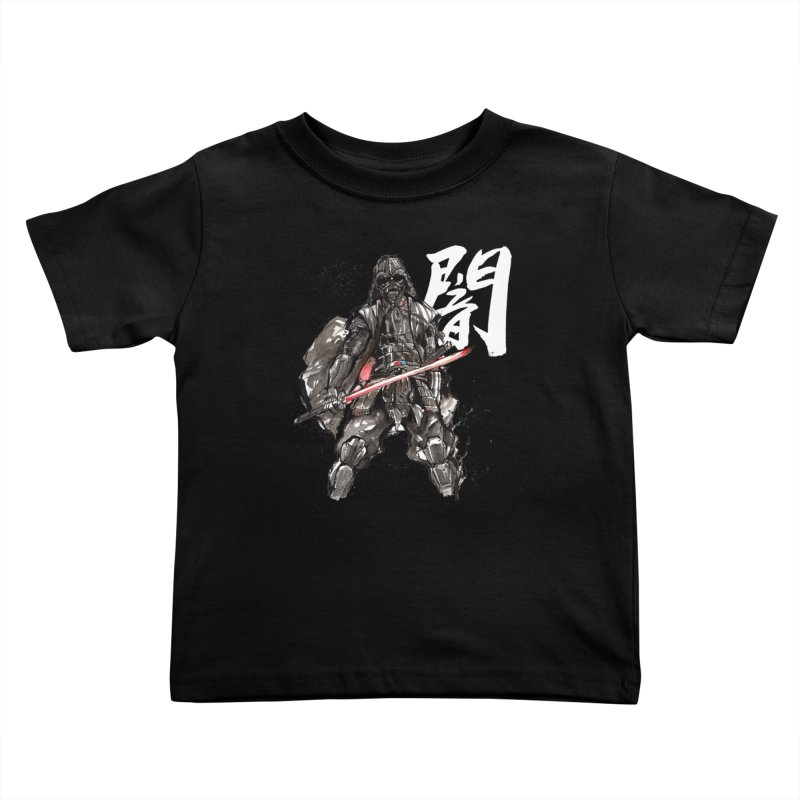 Samurai Vader with Calligraphy Darkness Kids Toddler T-Shirt by mycks's Artist Shop