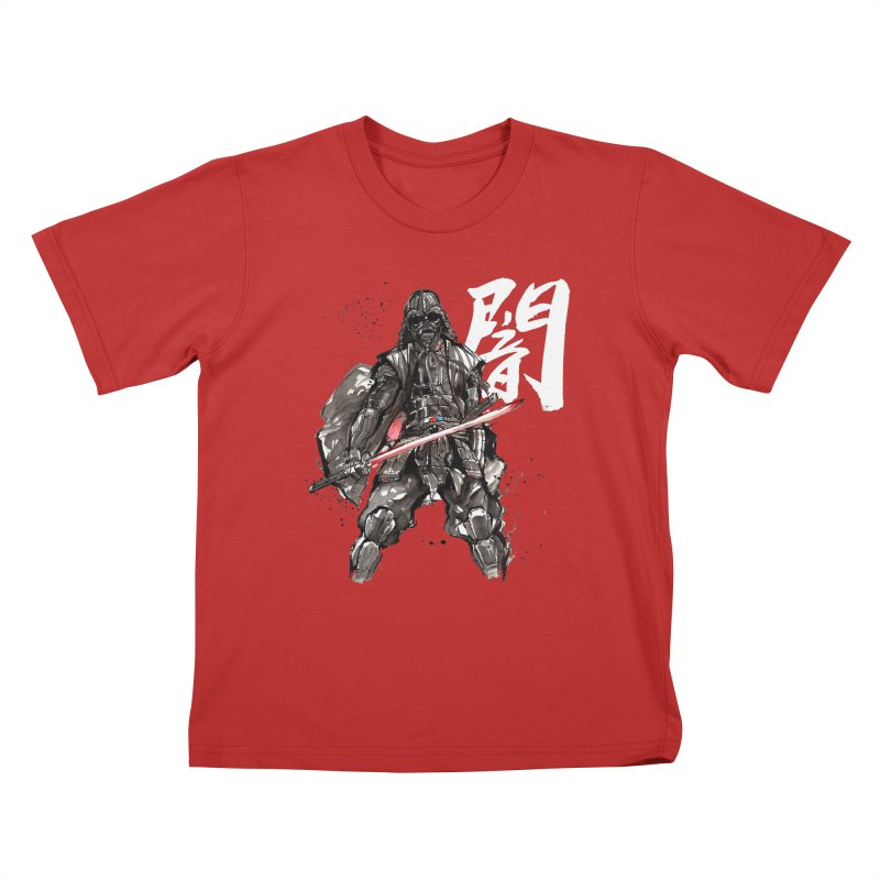 Samurai Vader with Calligraphy Darkness Kids T-shirt by mycks's Artist Shop