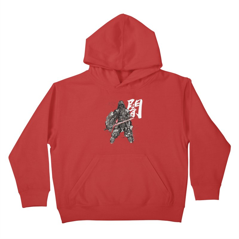 Samurai Vader with Calligraphy Darkness Kids Pullover Hoody by mycks's Artist Shop