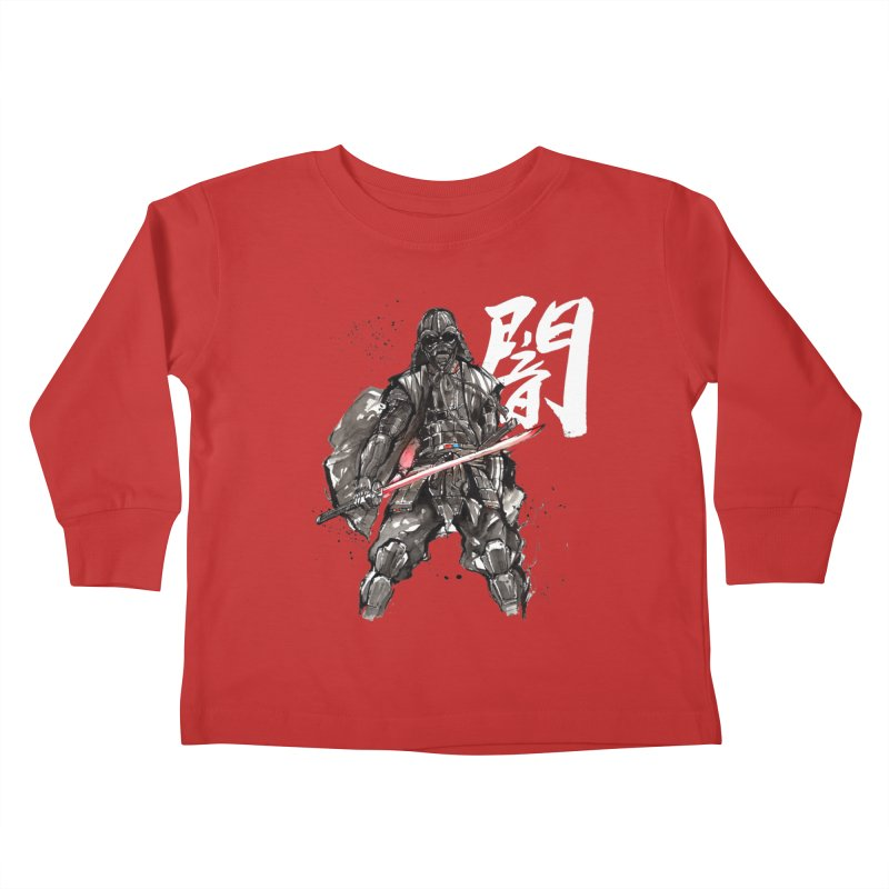 Samurai Vader with Calligraphy Darkness Kids Toddler Longsleeve T-Shirt by mycks's Artist Shop