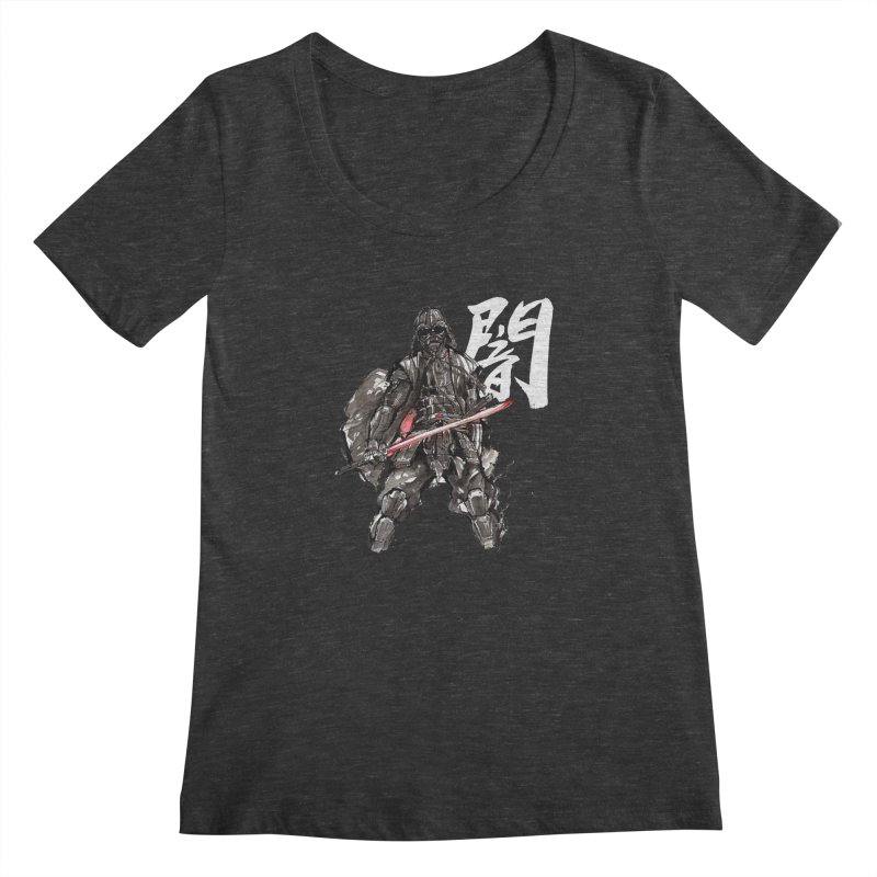 Samurai Vader with Calligraphy Darkness Women's Scoopneck by mycks's Artist Shop