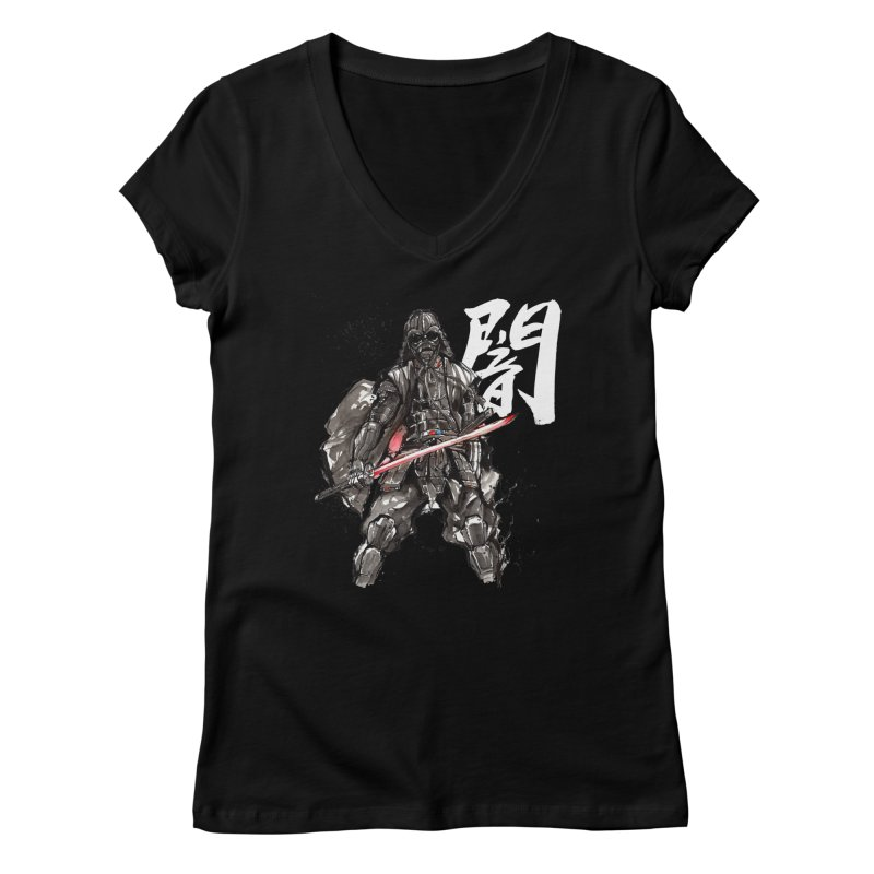 Samurai Vader with Calligraphy Darkness Women's V-Neck by mycks's Artist Shop