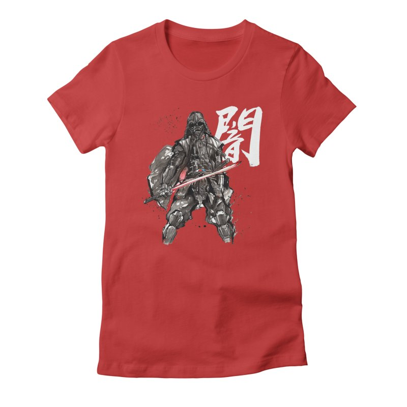Samurai Vader with Calligraphy Darkness Women's Fitted T-Shirt by mycks's Artist Shop