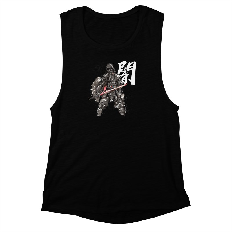 Samurai Vader with Calligraphy Darkness Women's Muscle Tank by mycks's Artist Shop