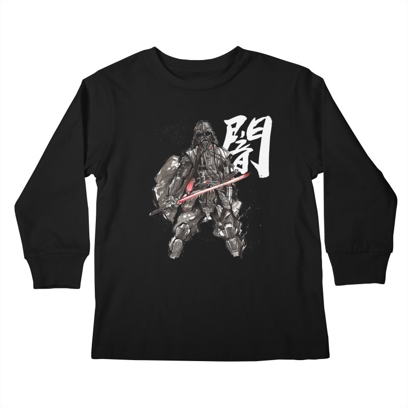 Samurai Vader with Calligraphy Darkness Kids Longsleeve T-Shirt by mycks's Artist Shop