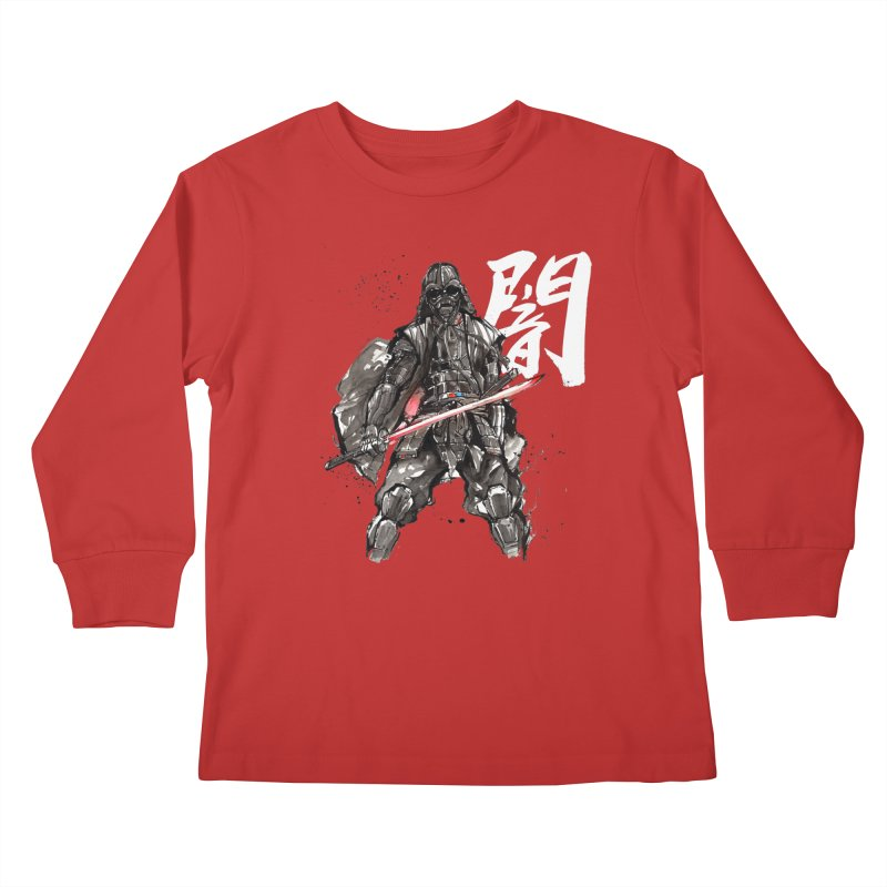 Samurai Vader with Calligraphy Darkness Kids Longsleeve T-Shirt by mycks's Artist Shop